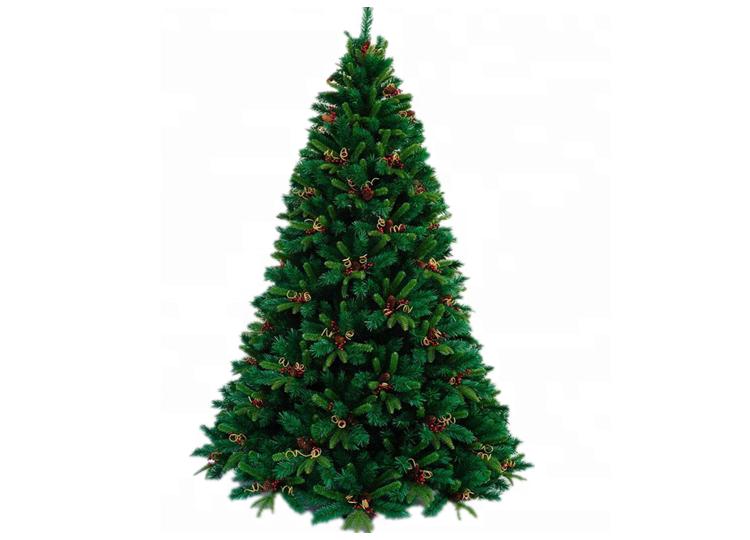 7.5 हरी स्लिम कृत्रिम क्रिसमस पेड़ के नेतृत्व में