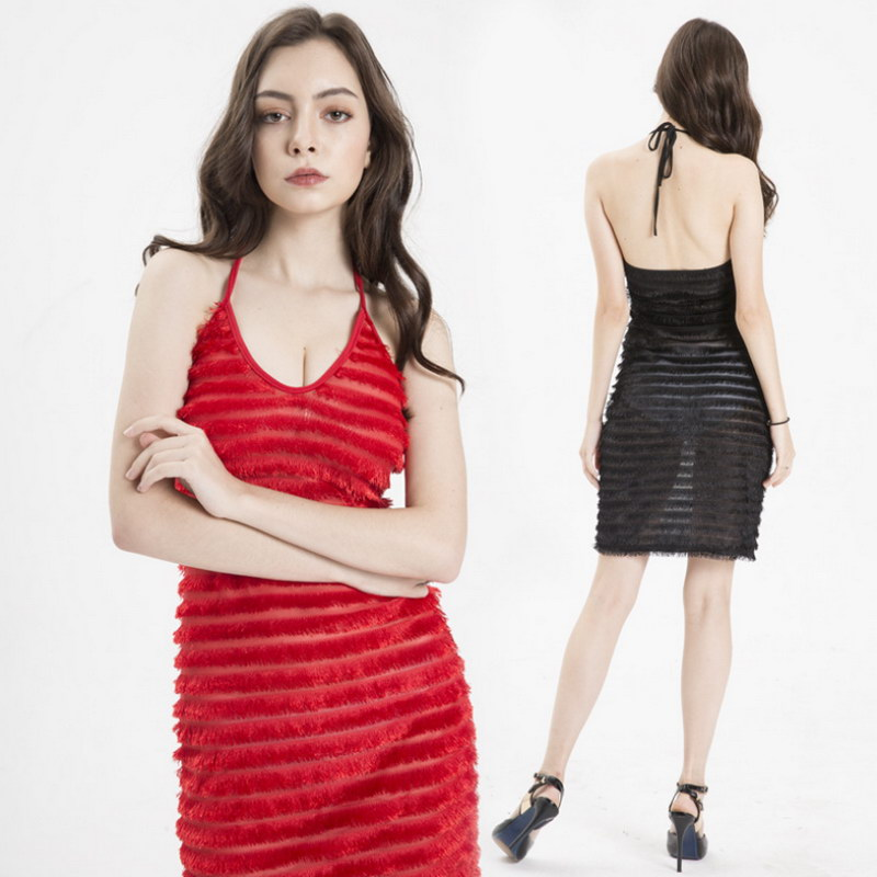 Newest Amazon Woman Black Strapless Backless Sexy Perspective <strong>Lace</strong> Sling Tassel Dress Fashion <strong>Women</strong> <strong>Clothing</strong>