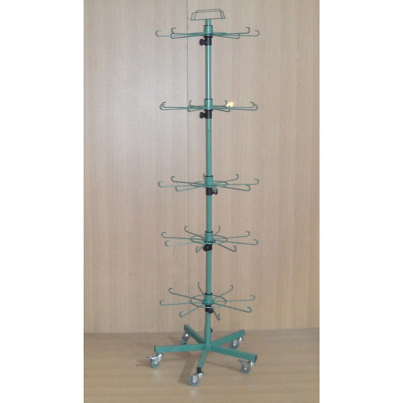 retail store floor standing adjustable layers iron wire rod  hanger arms spinner display rack for hanging merchandise