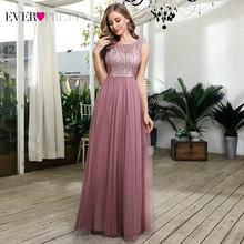 Длинные платья для выпускного, 2020 Ever Pretty EP00783, пыльно-розовые, расшитые блестками, а-силуэта, без рукавов, фатиновые праздничные платья, Robe De ...(Китай)