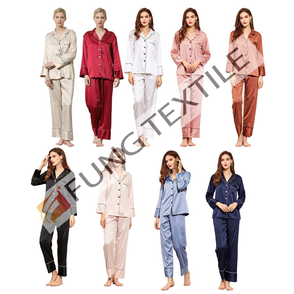 Fung 6001 venta al por mayor señoras pijamas de alta calidad cómodo de las mujeres pijamas de satén de noche ropa de dormir