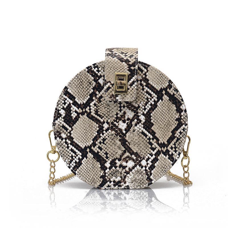 Mode Frauen Runde PU Schulter Schlange Haut Gedruckt Messenger Tasche Frauen Satchel Tote Geldbörse Taschen