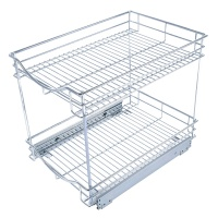 WIREKING Metal Kitchen Cabinet sale -Pull Out Drawer Multi-functional 2 tier mesh Wire sliding cabinet Basket
