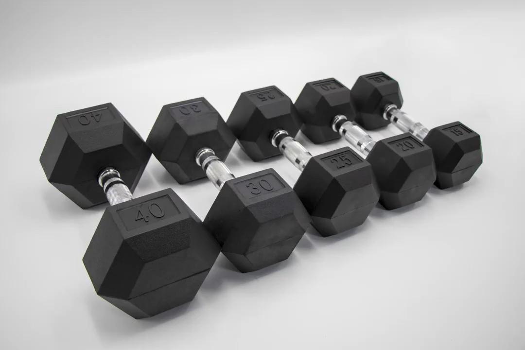 Hex Chromed Dumbbell Rubber Dumbbells Gym Strength Fitness Equipment Manufacturers for Household Personal Trainer Studio