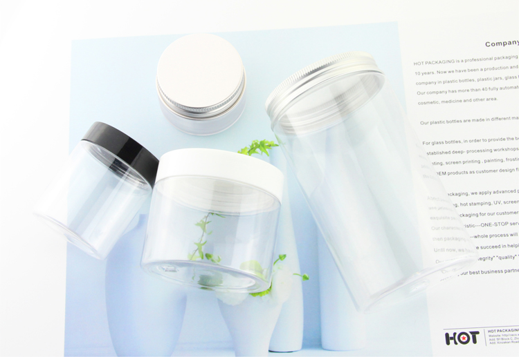round shape 100ml transparent refillable straight sided plastic jars  with aluminum lid
