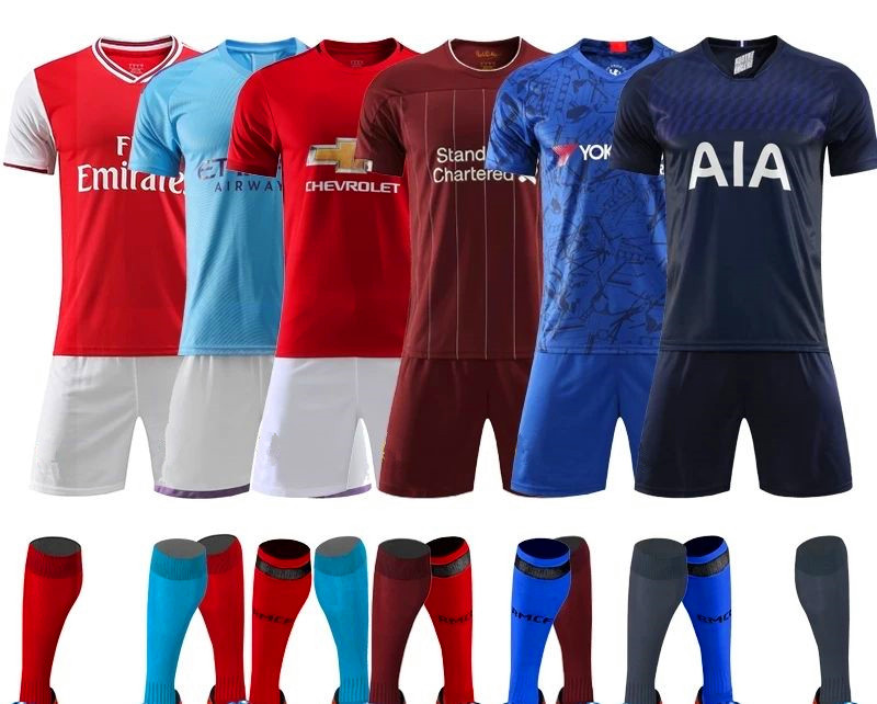 Wholesale in stock customized top grade thailand quality soccer jersey with cheap price soccer uniform