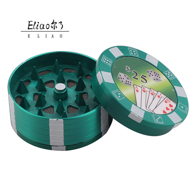 Erliao Durable Hot 3 Layers Tobacco Grinder Poker Style Herbal Herb Hand Grinder Black for Smoking Pipe Accessories