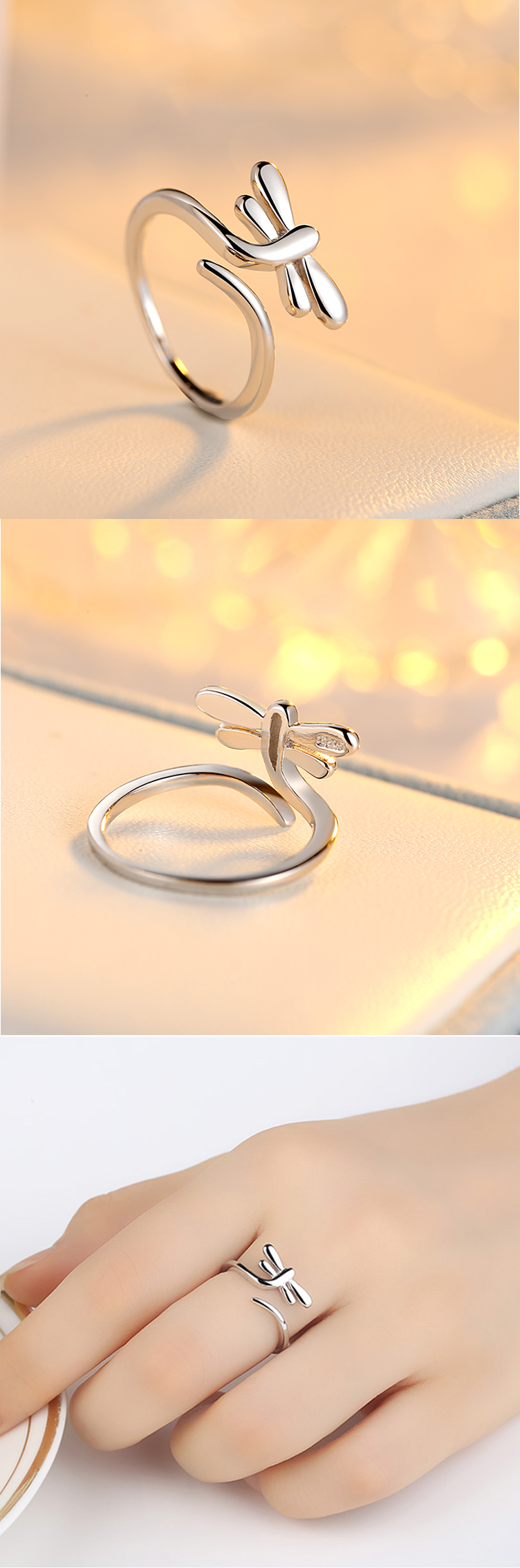 Top sell s925 sterling silver lovely dragonfly open animal ring