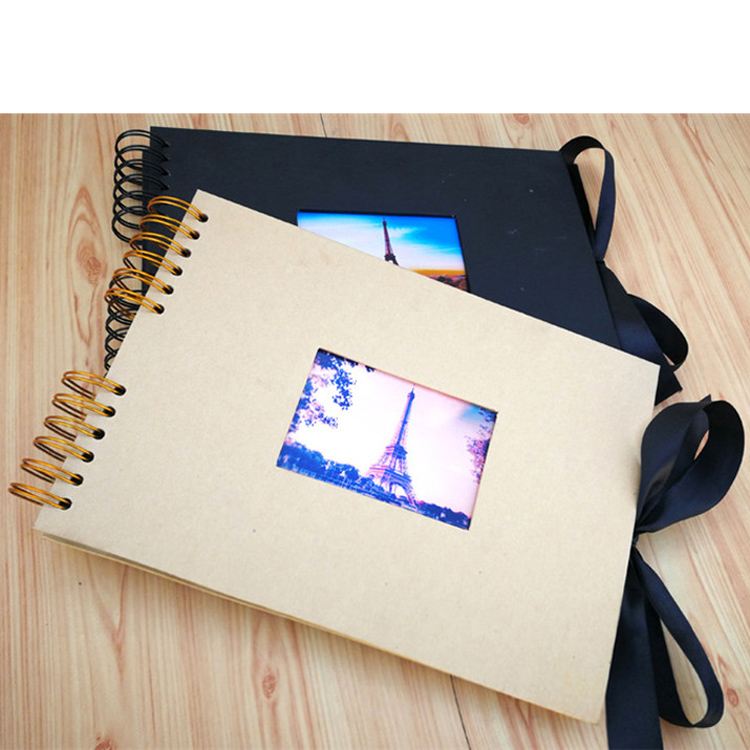 2020 New 29.7*21cm 80 Pages DIY Kraft Photo Album with Window <strong>for</strong> <strong>Gifts</strong> Handmade Scrapbook Black Page Spiral Binding Photo Album