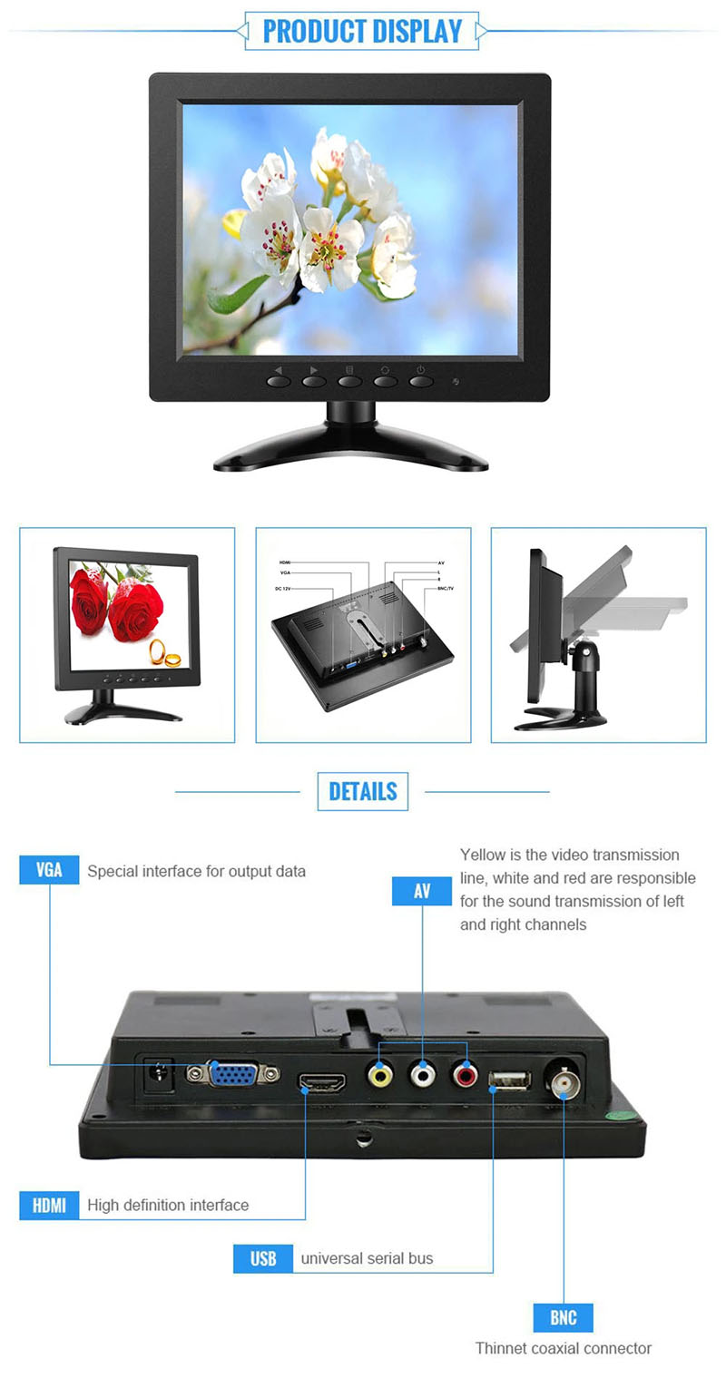 8 inch TFT LED Monitor 1024x768 Resolution Display Portable 4:3 IPS HD Color Video Screen Support HDM I VGA BNC AV USB Input