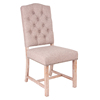 Antique Linen Fabric Upholstered Button Tufted Nailhead Trim Dining Chair Set