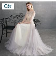 Новый светильник, розовое платье подружки невесты, длинное Тюлевое кружевное платье с вышивкой, вечерние платья для выпускного вечера(Китай)