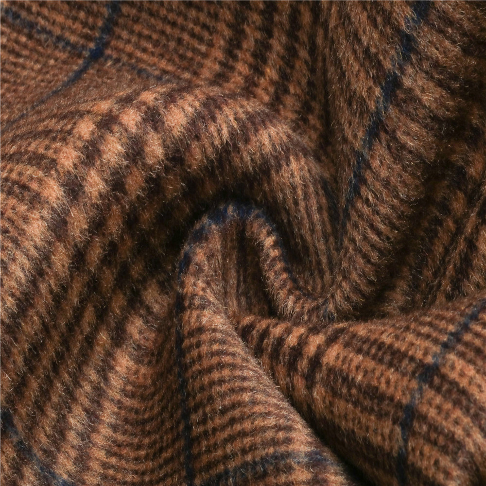 wholesale double sided Herringbone checked blend plaid tartan yarn dyed wool fabric for coat