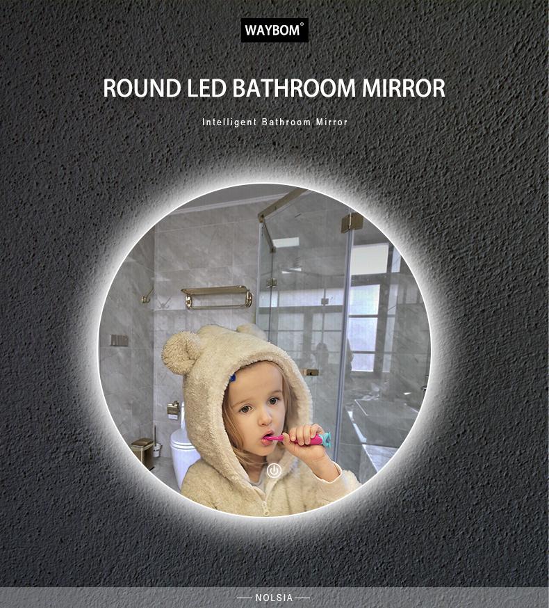 Ronde Smart Compact Zwart Glas Spiegels Wandmontage Bad Make-Up Metalen Frame Bad Spiegels Met Licht