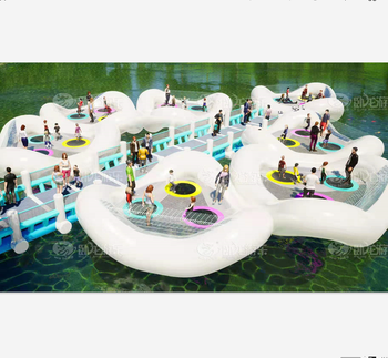 Large inflatable water bridge , water jumping trampoline , water games for rivers