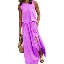 VICABO Мода 2020 женское платье Летнее Длинное с разрезом без рукавов Дамское Платье повседневное Сексуальное Женское Платье размера плюс(Китай)