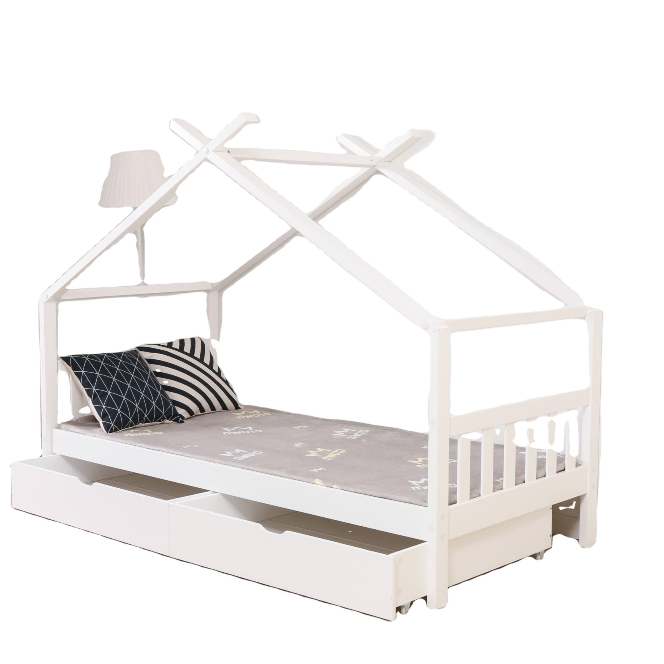 2020 木の家ベッド子供のための子供のテント小屋ベッドフレームと 2 引き出し