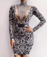 Черный серый Стразы Жемчуг Длинные рукава платье Сексуальное спандекс женское певица наряд день рождения Празднование вечернее платье(Китай)
