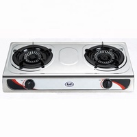 Africa market factory direct sale 0.33mm stainless steel cast iron 2 burner gas cooker stove