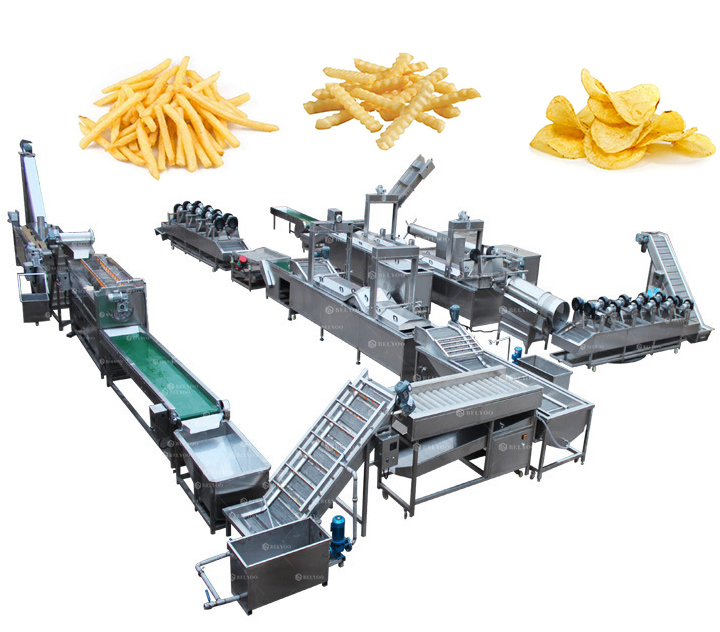 French fries processing production line supermarket frozen potato chips making machine