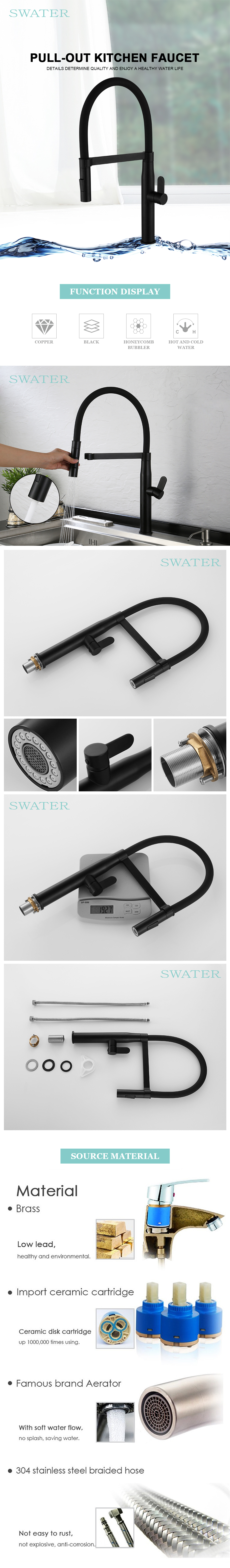 American Standard Black Goose Neck Flexible Silicone Hose Kitchen Faucet