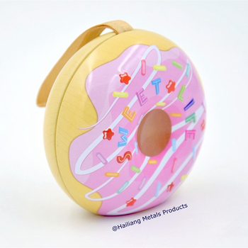 pink cute donut shape decoration gift tin box for candy