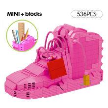 Спортивная баскетбольная обувь строительные блоки кроссовки модели ручка контейнер DIY Мини кирпичи AJaj пенал игрушки для детей Канцтовары(Китай)