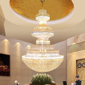 Modern large LED dimmable luxury crystal chandelier for penthouse hotel ETL89032