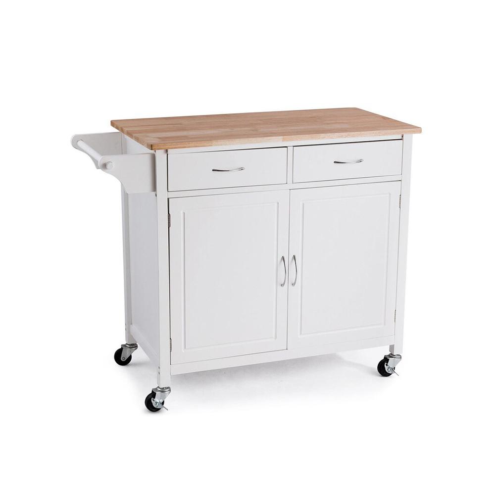 Oak Top White Kitchen Utility Storage