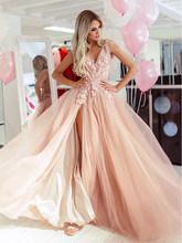 Женское вечернее платье Smileven, розовое кружевное платье с открытой спиной для выпускного вечера, 2020(Китай)