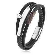 Многослойный кожаный браслет с подвеской, мужской браслет из нержавеющей стали с магнитной застежкой в стиле панк, Модный повседневный пле...(Китай)
