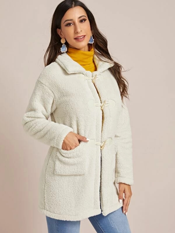 KY winter white long sleeve Dual Pockets Button Front teddy coat women long