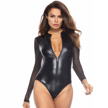 Sexy hot eyes and mouth open full body latex pvc catsuit Women