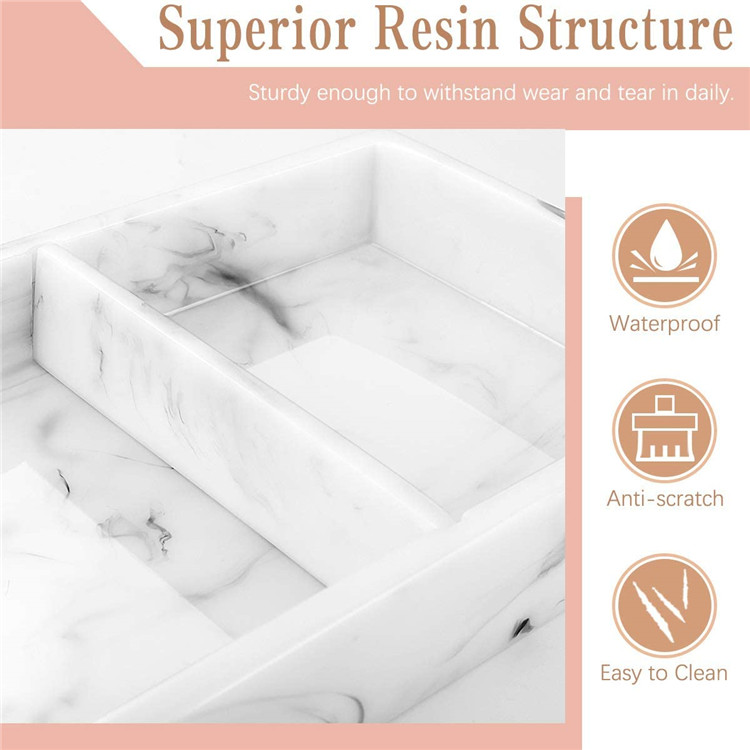 Two-Compartment Organizer Resin Storage Catchall Vanity Tray for Bathroom Bathtub