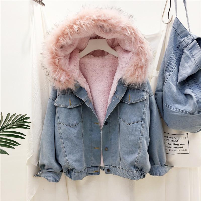 2020 New Women Thicken Coat Denim Jackets Plus Velvet Hooded Loose Vintage Large Fur Collar Short coat female Winter