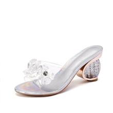 MCCKLE/летние женские босоножки; Женская прозрачная обувь из ПВХ с открытым носком; Прозрачные повседневные женские шлепанцы на высоком каблу...(Китай)