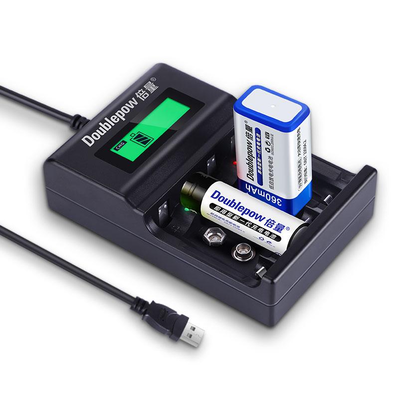 Doublepow UK95 универсальное автомобильное зарядное устройство с USB высокая скорость зарядки 1,2 v 9v аккумуляторная батарея зарядное устройство для никель-металл-гидридных и никель-кадмиевых типов аккумуляторов литий-ионный Аккумулятор AA AAA 9v клеток