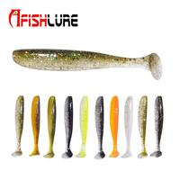 Shad bait soft plastic fish lure 68mm 2.3g fishing tail wobbler Double Color T Tail soft lure bait soft lure
