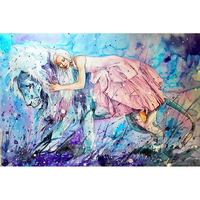 Oil painting Lions and girls modern Wall art decor canvas 5d diy full painting diamond diamond embroidery zhui star