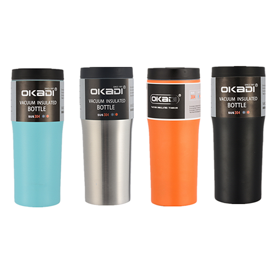 16oz powder coated double wall stainless steel tumbler vacuum flask <strong>cup</strong> with logo