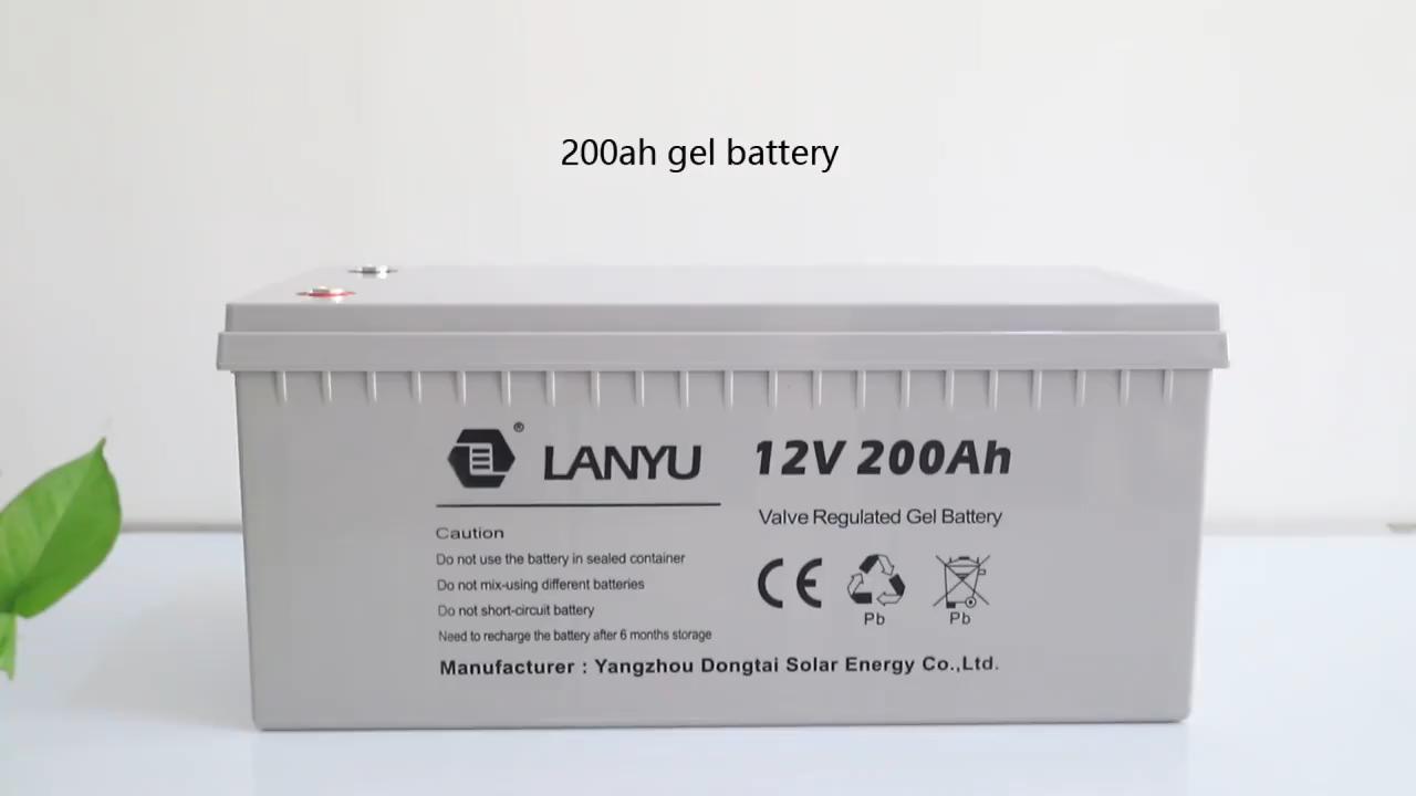 Ricaricabile di lunga Vita 12V Vrla Gel Ciclo Profondo Batteria Solare 12v 200ah Per Impianto A Pannelli Solari