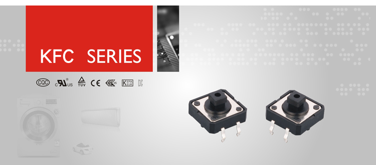 IBAO KFC series ip67 waterproof mini push button latching 5 pin 4 pin dip smt cap normally closed smd tact switch