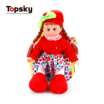 Hot selling lovely toy girl doll 14 inch muneca juguete baby doll toys with packsack