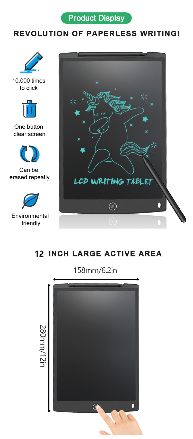 Newyes 2019 Kids Electronic Graphic Drawing Tablet 12 Inch Erasable Digital Lcd Writing Pad