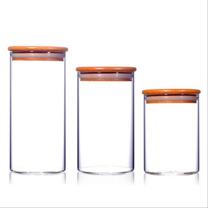 food storage and lid bamboo cork Large wooden glass jar