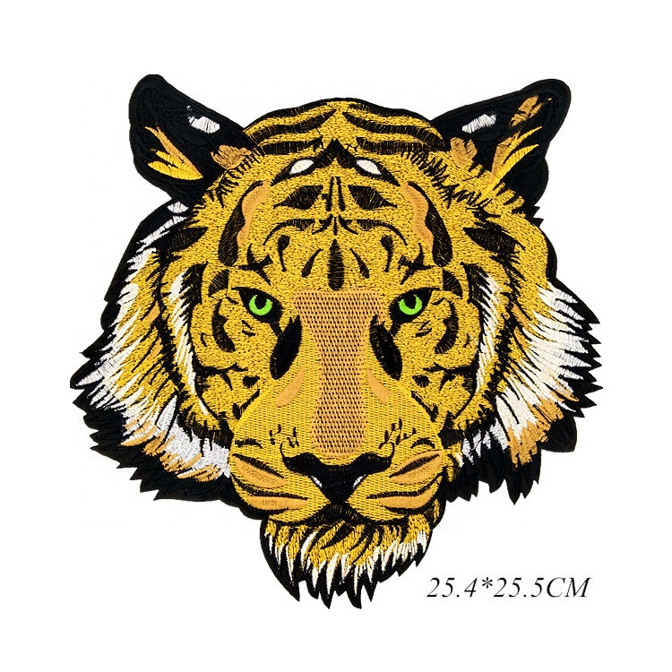 Custom Wärme Transfer Große Tiger Patch 3D Stickerei Patch