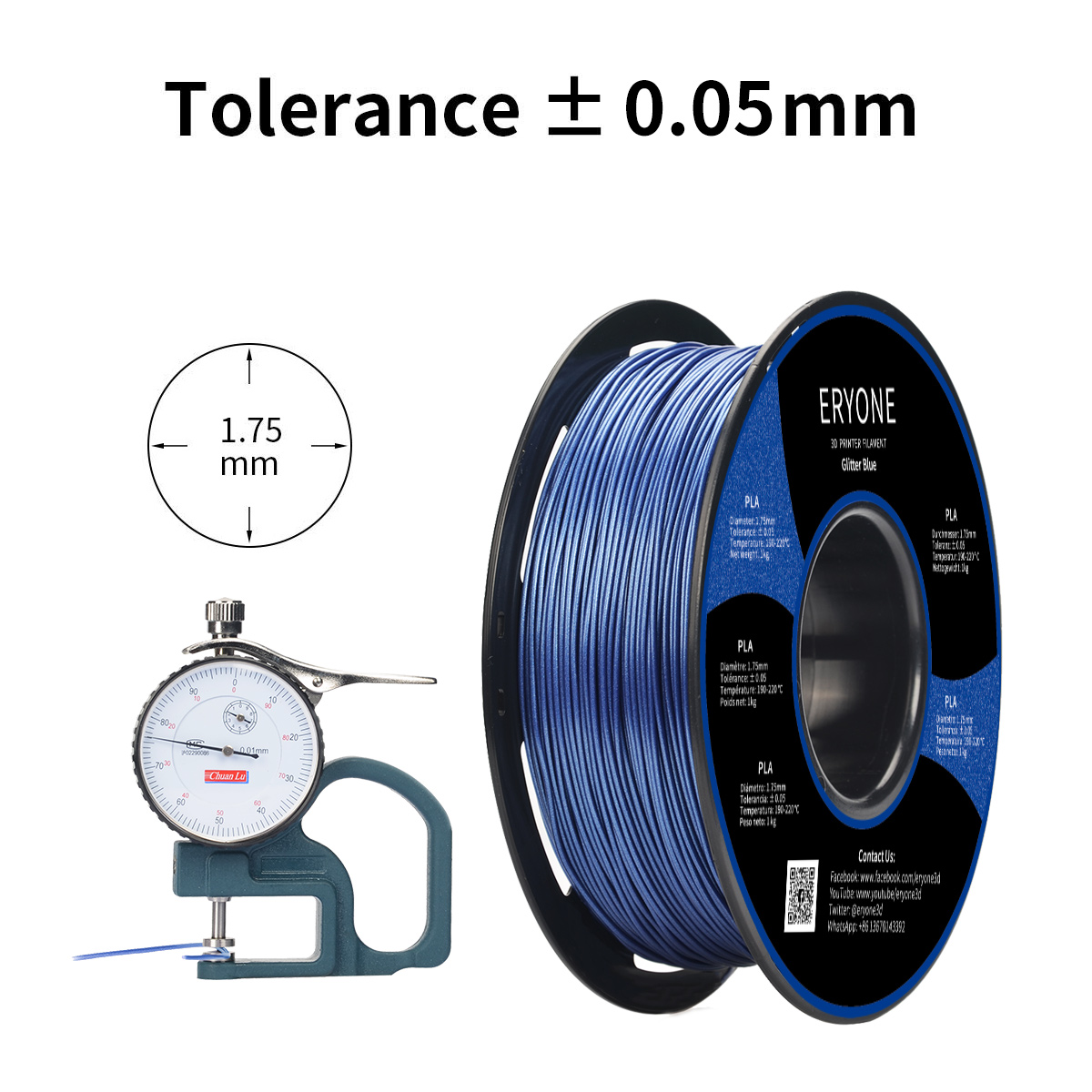 ERYONE PLA Filament 1.75mm, Sparky/Glitter Blue,  for 3D Printer and 3D Pen, 1KG, 1 Spool