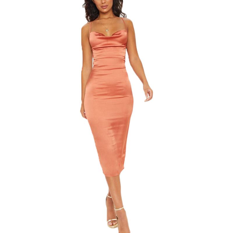 ملابس النساء جديد أزياء الحرير فساتين متوسطة الطول السيدات ضمادة فستان مثير