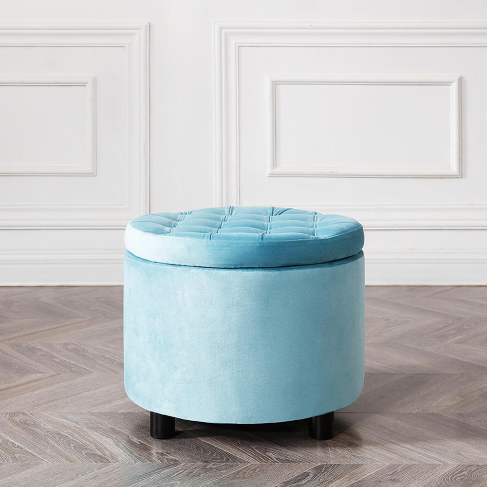Velvet stool tufted soft storage ottoman round stool pouffe ottoman footstool chair foot stool with storage
