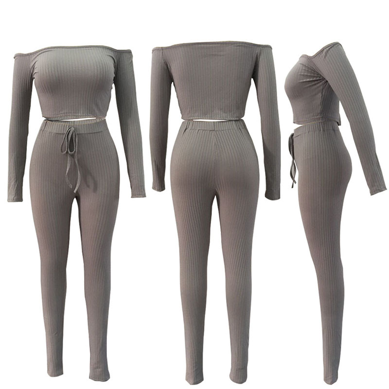 Women Ribbed Long Sleeve Tracksuit Women's Track Suit Sexy Sports And Leggings Off Shoulder Gym Exercise Tracksuits